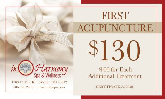 First acupuncture $130. $100 for each additional treatment