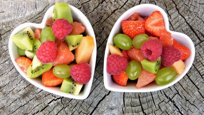 heart shaped bowls full of fruit
